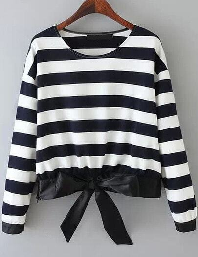 Black Long Sleeve Striped Bow Blouse