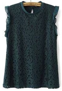 Green Sleeveless Flouncing Lace Blouse