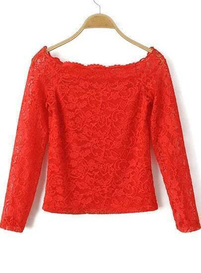 Boat Neck Slim Crop Lace Red Blouse