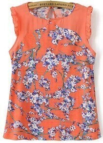 Orange Sleeveless Plum Blossom Print Flouncing Blouse