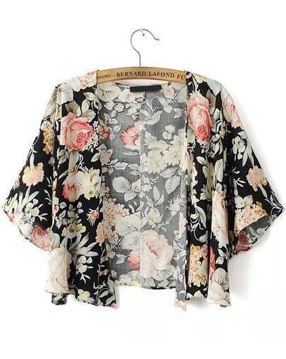 kurzes Kimono mit Blumenmuster-schwarz
