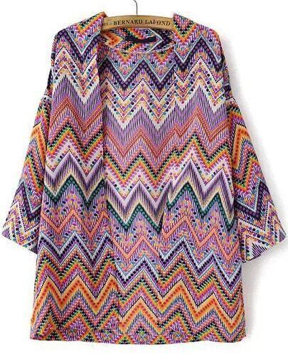 Multicolor Zigzag Print Loose Chiffon Kimono