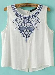 White Sleeveless Embroidered Buttons Tank Top