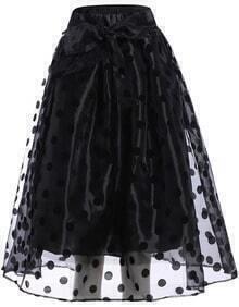Black Polka Dot Sheer Flare Skirt