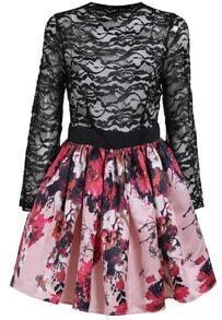 Black Long Sleeve Lace Homecomming Floral Flare Dress