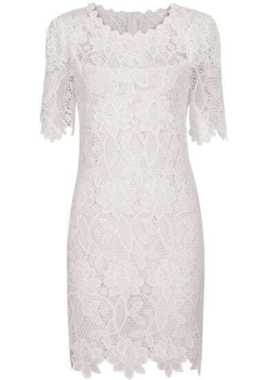 White Short Sleeve Lace Bodycon Dress
