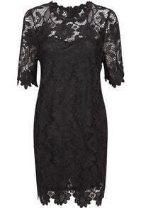 Black Short Sleeve Lace Bodycon Dress