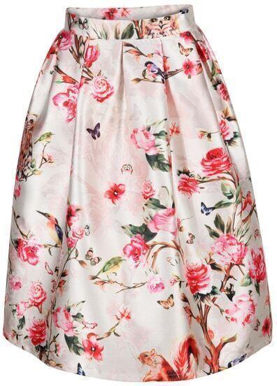White Floral Owl Print Flare Skirt