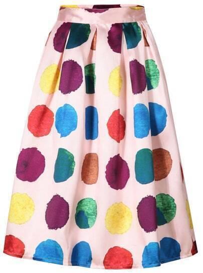 Pink Polka Dot Midi Skirt