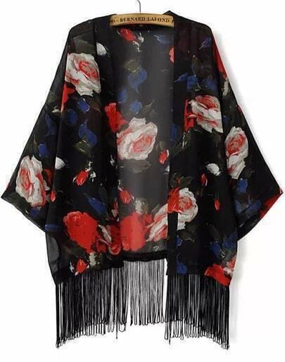 Floral Print Tassel Chiffon Kimono