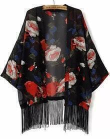Kimono gasa floral flecos