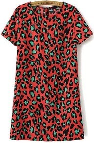 Red Short Sleeve Leopard Print Dress