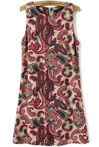 Red Sleeveless Cashews Print Slim Dress
