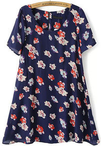 Navy Short Sleeve Floral Slim Dress