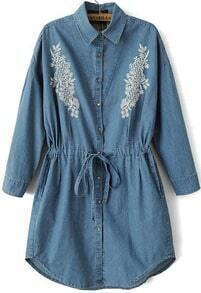 Blue Lapel Embroidered Drawstring Denim Dress