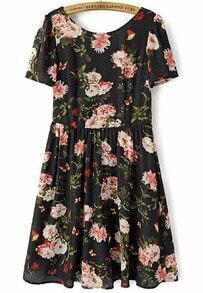 Black Short Sleeve Floral Backless Dress
