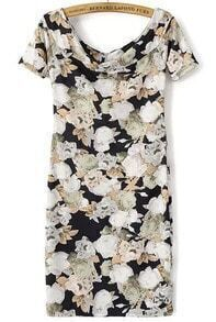 Black Boat Neck Floral Slim Bodycon Dress