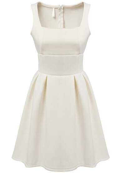White Square Neck Sleeveless Pleated Dress