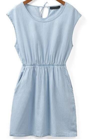 Blue Cowgirls Sleeveless Bluish Batwing Slim Denim Dress