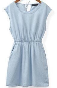 Blue Cowgirls Sleeveless Batwing Slim Denim Dress
