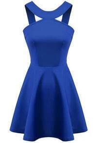 Blue Strap Backless Flouncing Flare Dress