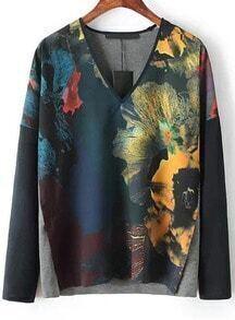 Black V Neck Long Sleeve Floral T-Shirt