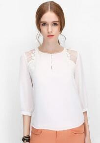 White Round Neck Hollow Embroidered Blouse