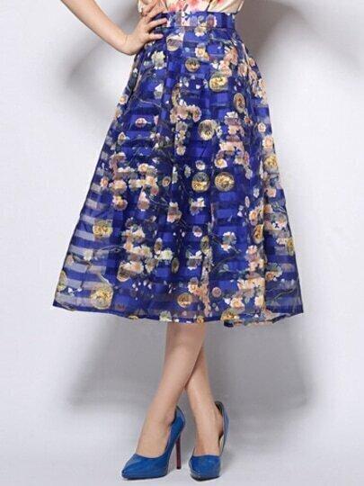 Blue Striped Coin Print Organza Skirt