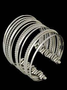 Silver Multilayers Cuff Bracelet