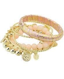 Gold Pink Tassel Multilayers Bracelet