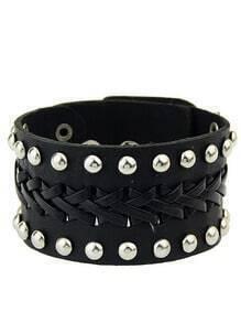 Black Bead Leather Bracelet