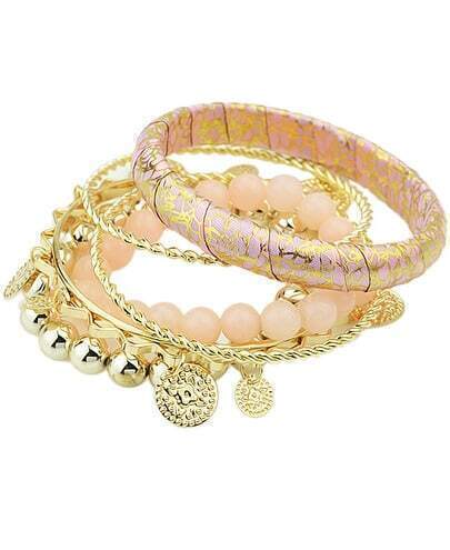 Gold Pink Tassel Multilayers Bracelet