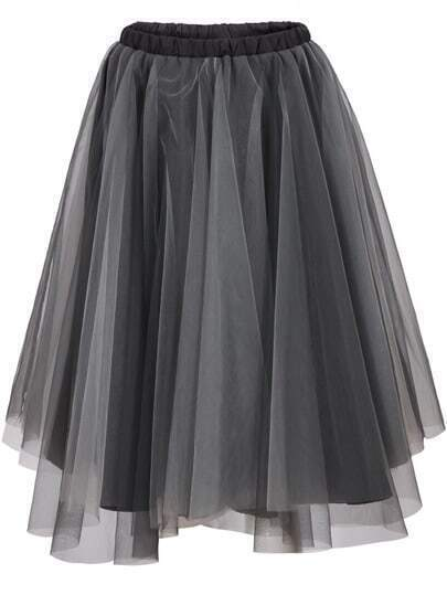 Grey Gauze Flare Skirt