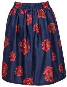 Navy Floral Print Midi Pleated Skirt