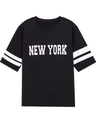 Black New York Print Short Sleeve T-Shirt