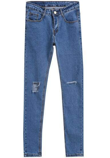 Blue Ripped Buttons Silm Denim Pant