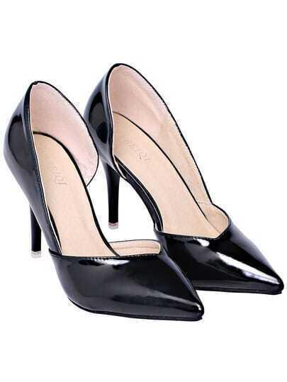 Black High Heel Point Toe PU Shoes