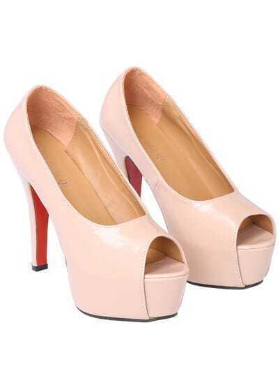 Pink High Heel Peep Toe Platform Shoes