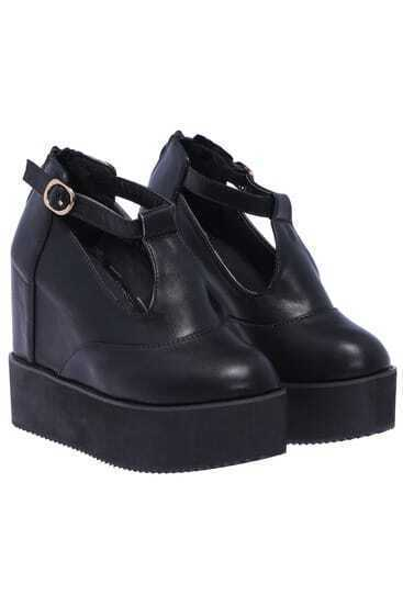 Black Thick-soled Buckle Shoes