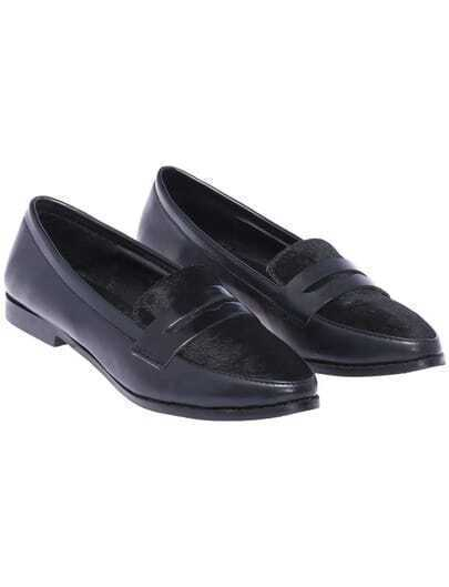 Black Low Heel PU Flat