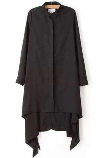 Black Lapel Buttons Asymmetrical Chiffon Blouse