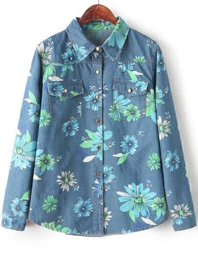 Blue Long Sleeve Floral Print Denim Blouse