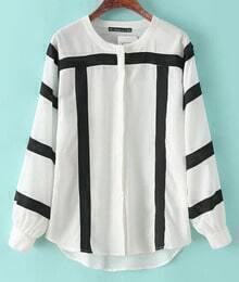 White Long Sleeve Striped Loose Chiffon Blouse