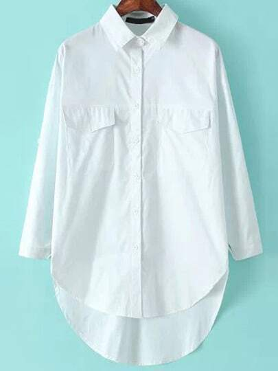 White Lapel Long Sleeve Pockets Dipped Hem Blouse