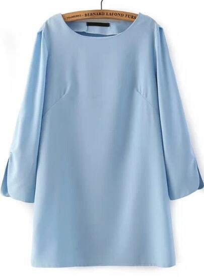 Blue Long Sleeve Bluish Split Loose Dress