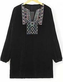Black Long Sleeve Embroidered Velvet Dress