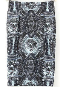 Grey Gemstone Print Zipper Skirt