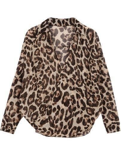Leopard Long Sleeve Loose Chiffon Blouse