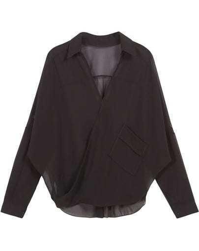 Black Long Sleeve Loose Chiffon Blouse