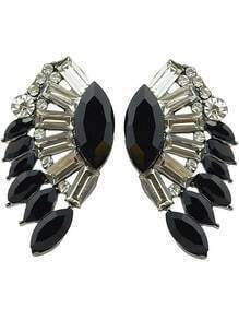 Black White Gemstone Wing Earrings
